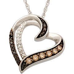 1/4 CT. T.W. Diamond Heart Pendant Necklace Sterling