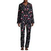 Flannel Notch Collar Pant Pajama Set