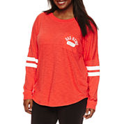 Flirtitude Plus Size Drop Shoulder Long Sleeve Graphic T-Shirt