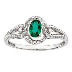 Womens Diamond Accent Green Emerald Sterling Silver Halo Ring