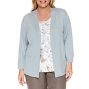 Alfred Dunner 3/4 Sleeve Crew Neck Layered Sweaters-Plus