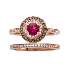 Lead Glass-Filled Ruby and 1/3 CT. T.W. Diamond 10K Rose Gold Ring Set