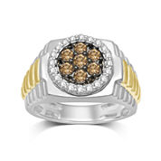 Mens 1 CT. T.W. White and Champagne Diamond Ring