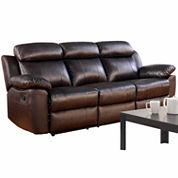 Caroline Leather Pad-Arm Reclining Sofa