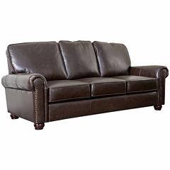 Olivia Leather Roll-Arm Sofa