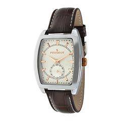 Peugeot® Mens Brown Leather Strap Tonneau Watch