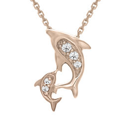 Diamond-Accent 10K Rose Gold Dolphins Mini Pendant Necklace