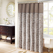 Madison Park Whitman Shower Curtain Pieced with Faux Dupioni