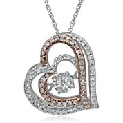 Love in Motion™ 1/5 CT. T.W. Diamond 10K Gold Heart Pendant
