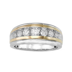 Mens 1 CT. T.W. Diamond 10K Two-Tone Gold Band Ring