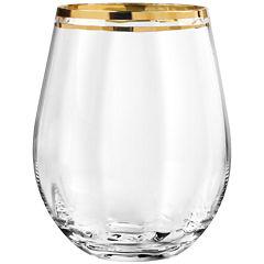 TableArt Tivoli Gold-Rim Set of 4 Stemless Wine Glasses