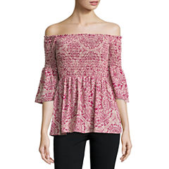 Trixxi Long Sleeve Damask Blouse-Juniors