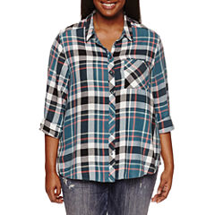 Arizona Long Sleeve Boyfriend Plaid-Juniors Plus