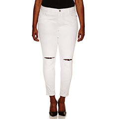 Arizona Plus White Hi-Rise Slit Knee Skinny