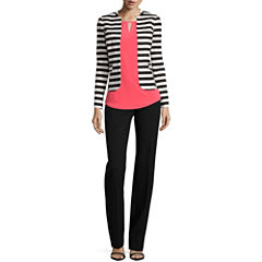 Worthington® Striped Jacket, Top or Curvy Fit Straight Leg Pants