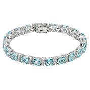 Womens Blue Topaz Sterling Silver Tennis Bracelet