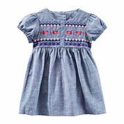 Oshkosh Short Sleeve Cap Sleeve Babydoll Dress - Baby