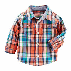 Oshkosh Long Sleeve Button Front Shirt-Baby Boys