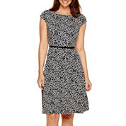 Black Label by Evan-Picone Cap-Sleeve Polka Dot Fit-and-Flare Dress