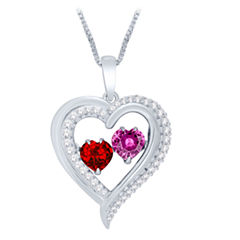 Love in Motion™ Lab-Created Ruby & Pink Sapphire Heart Pendant Necklace in Sterling Silver