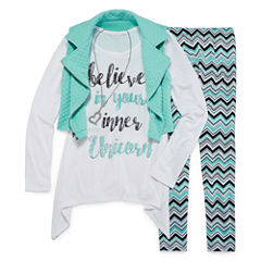 Total Girl Legging Set with Graphic Tee and Zipper Vest - Girls 7-16 and Plus