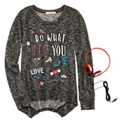 Self Esteem Graphic Sweatshirt and Headphones - Girls 7-16 and Plus