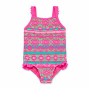 Okie Dokie Girls Solid One Piece Swimsuit-Toddler