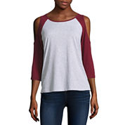 3/4 Sleeve Scoop Neck T-Shirt-Juniors