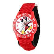 Disney Mickey Mouse Kids Red Black Nylon Strap Watch