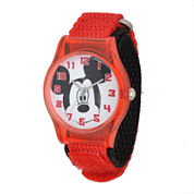 Disney Mickey Mouse Face Kids Red Nylon Strap Watch