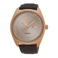 Seiko® Mens Brown Strap Watch SNKN72