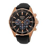 Seiko® Mens Rose-Tone Chronograph Black Leather Strap Watch SSC448