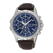 Seiko® Mens Solar Chronograph Brown Leather Strap Watch SSC455