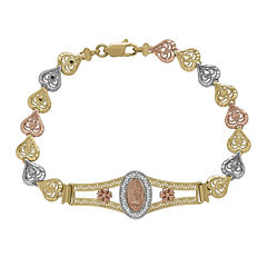 Tesoro™ 14K Tri-Tone Our Lady of Guadalupe Heart Link 7