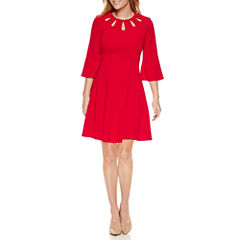 Danny & Nicole 3/4 Sleeve Fit & Flare Dress