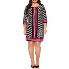 Alyx 3/4 Sleeve Knit Sheath Dress with Necklace-Plus