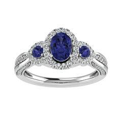 Cherished Hearts Womens 1/2 CT. T.W. Oval Blue Sapphire 14K Gold Engagement Ring