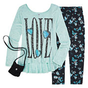 Knit Works Legging Set with High Low Stud Top and Purse - Girls 7-16 and Plus