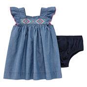 Arizona Azg Chambray Dress Short Sleeve Sundress - Baby Girls
