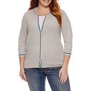 St. John's Bay 3/4 Sleeve Crew Neck Cardigan-Plus