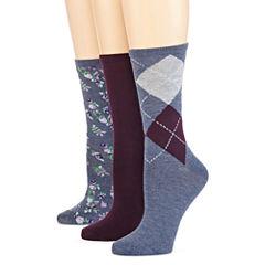 Mixit™ Womens 3-pk. Flat Knit Crew Socks