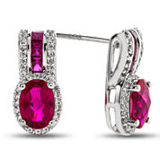 Lab-Created Ruby & White Sapphire Sterling Silver Drop Earrings