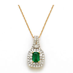 LIMITED QUANTITIES  Genuine Emerald and 1/2 CT. T.W. Diamond 14K Yellow Gold Pendant Necklace