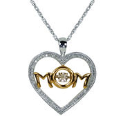 Love in Motion™ 1/10 CT. T.W. Diamond Sterling Silver and 14K Yellow Gold Mom Pendant Necklace