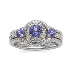 Genuine Tanzanite and 1/3 CT. T.W. Diamond Sterling Silver Ring