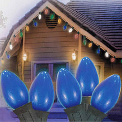 Set Of 25 Opaque Blue C7 Christmas Lights 12