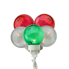 Set of 100 Green, Red & White G30 Globe Icicle Christmas Lights with White Wire