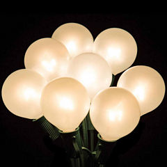 Set of 20 Clear White Ceramic G40 Globe Patio Wedding Christmas Lights with Green Wire