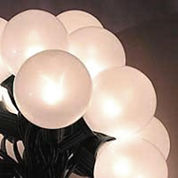Set of 15 White Pearl G50 Globe Christmas Lights with Green Wire