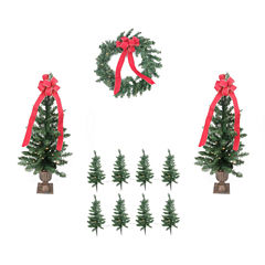 Pre-Lit B/O Traditional Pine Artificial Outdoor Christmas Entrance Set with Clear Lights